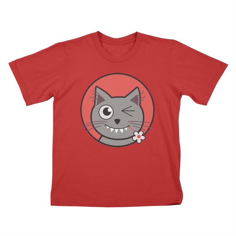 Winking Cartoon Kitty Cat Kids T-shirt by Boriana's Artist Shop
