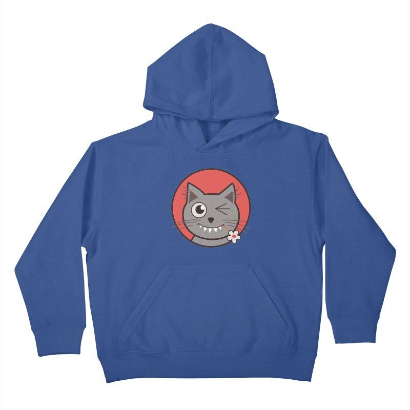 Winking Cartoon Kitty Cat Kids Pullover Hoody by Boriana's Artist Shop