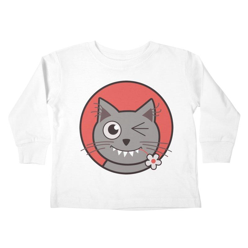 Winking Cartoon Kitty Cat Kids Toddler Longsleeve T-Shirt by Boriana's Artist Shop