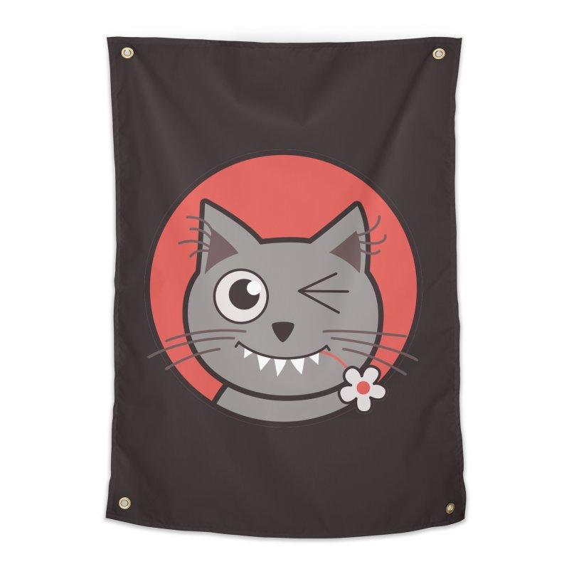 Winking Cartoon Kitty Cat Home Tapestry by Boriana's Artist Shop