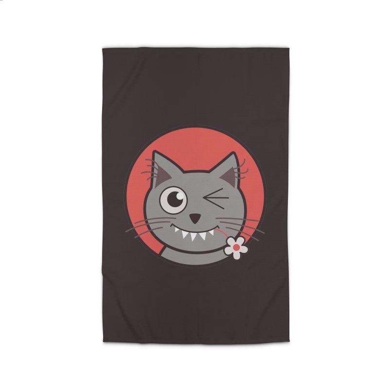 Winking Cartoon Kitty Cat Home Rug by Boriana's Artist Shop