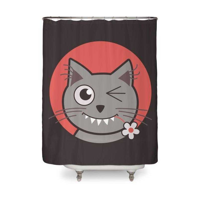 Winking Cartoon Kitty Cat Home Shower Curtain by Boriana's Artist Shop