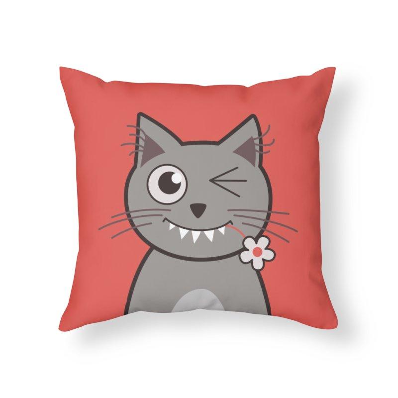 Winking Cartoon Kitty Cat Home Throw Pillow by Boriana's Artist Shop