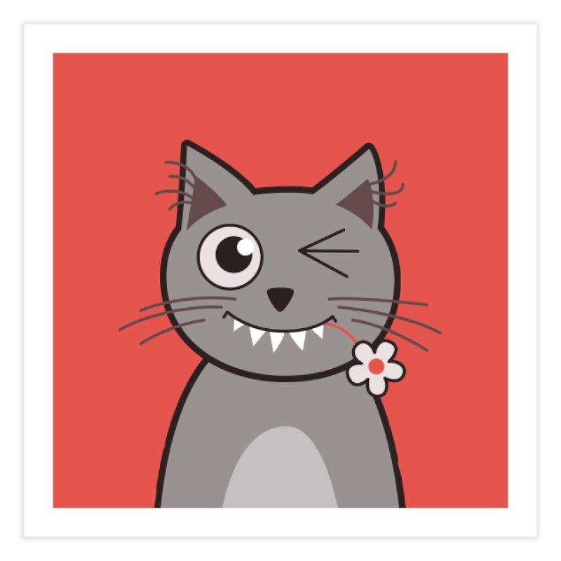 Winking Cartoon Kitty Cat Home Fine Art Print by Boriana's Artist Shop