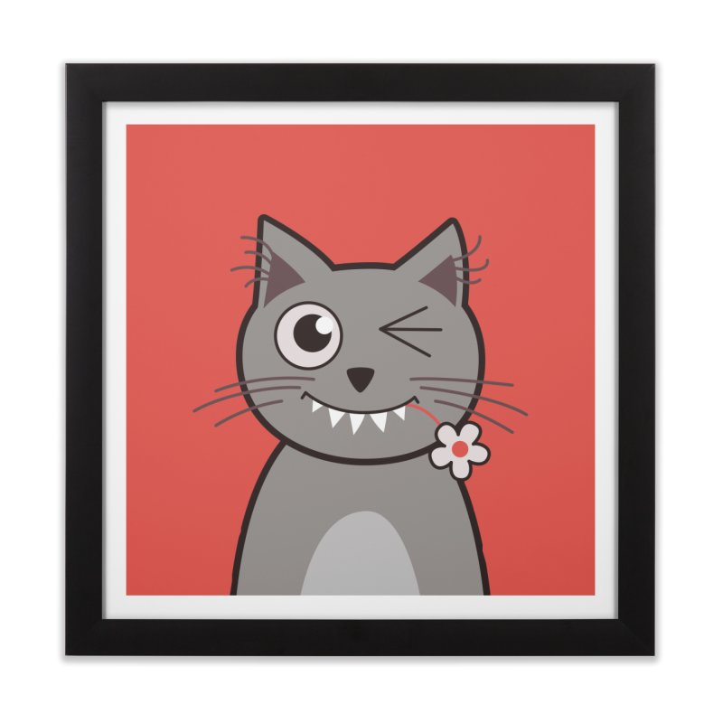 Winking Cartoon Kitty Cat Home Framed Fine Art Print by Boriana's Artist Shop