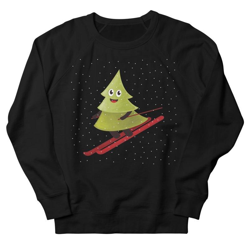 Skiing Cartoon Pine Tree Men's Sweatshirt by Boriana's Artist Shop
