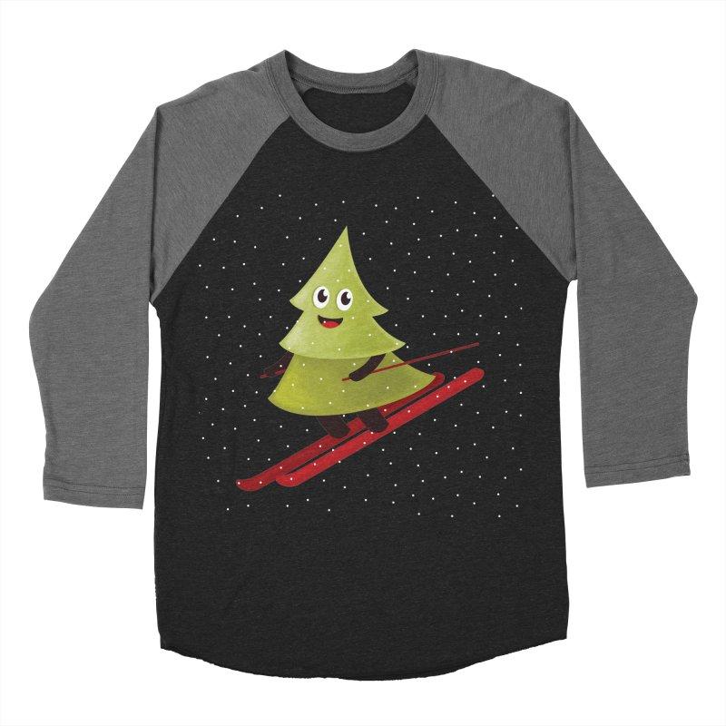 Skiing Cartoon Pine Tree Women's Baseball Triblend Longsleeve T-Shirt by Boriana's Artist Shop