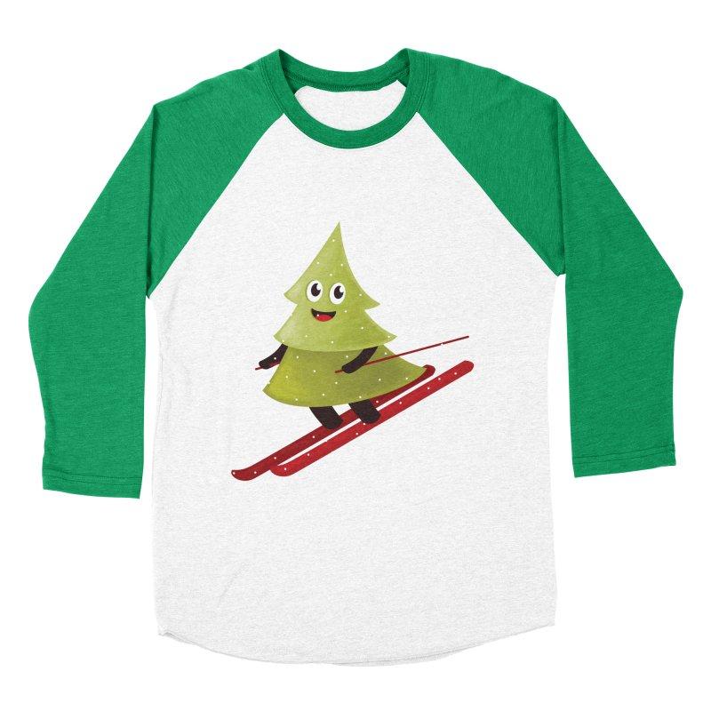 Skiing Cartoon Pine Tree Men's Baseball Triblend T-Shirt by Boriana's Artist Shop