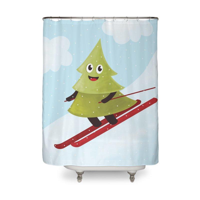 Skiing Cartoon Pine Tree Home Shower Curtain By Borianas Artist Shop