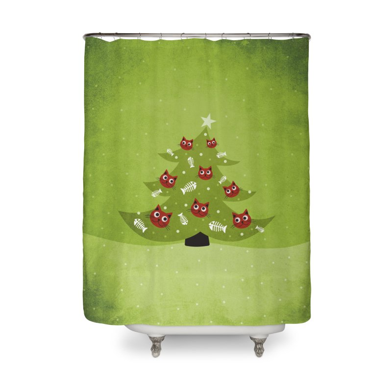 Christmas Tree With Cat Head And Fish Bone Ornaments Home Shower Curtain by Boriana's Artist Shop