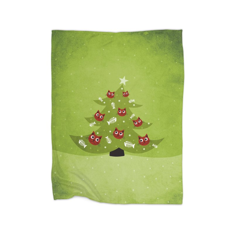Christmas Tree With Cat Head And Fish Bone Ornaments Home Blanket by Boriana's Artist Shop
