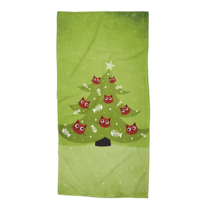 Christmas Tree With Cat Head And Fish Bone Ornaments Accessories Beach Towel by Boriana's Artist Shop