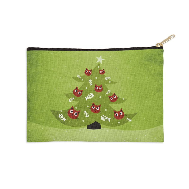 Christmas Tree With Cat Head And Fish Bone Ornaments Accessories Zip Pouch by Boriana's Artist Shop