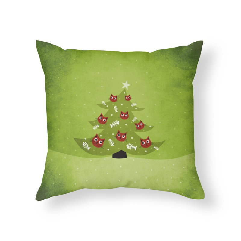 Christmas Tree With Cat Head And Fish Bone Ornaments Home Throw Pillow by Boriana's Artist Shop