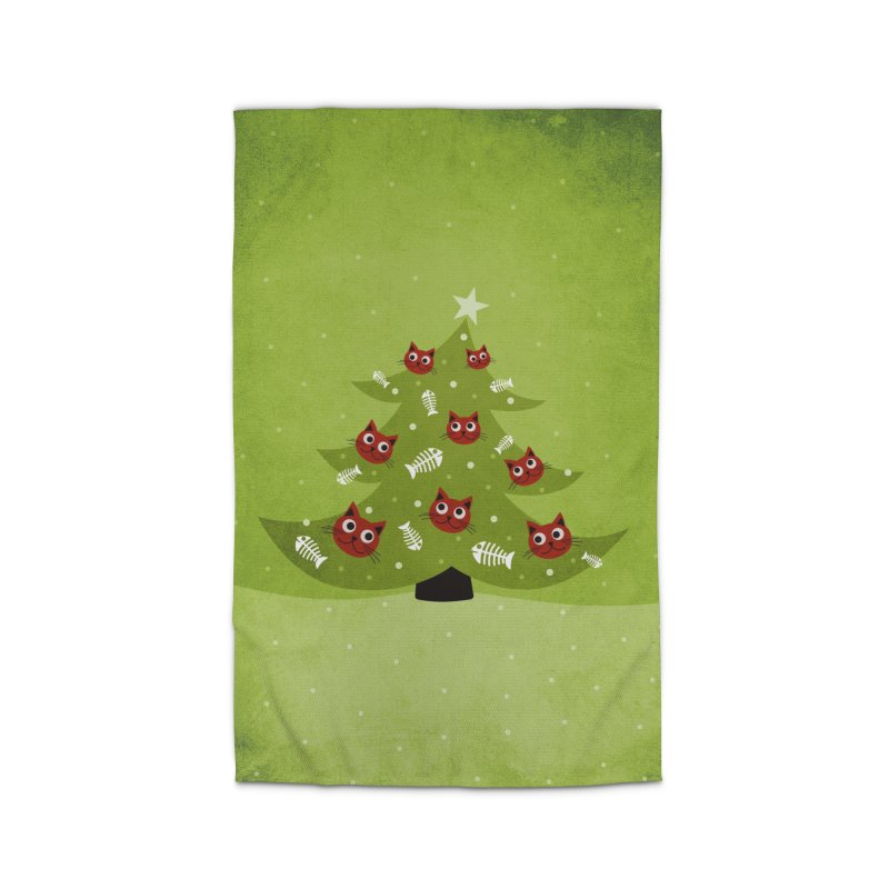 Christmas Tree With Cat Head And Fish Bone Ornaments Home Rug by Boriana's Artist Shop