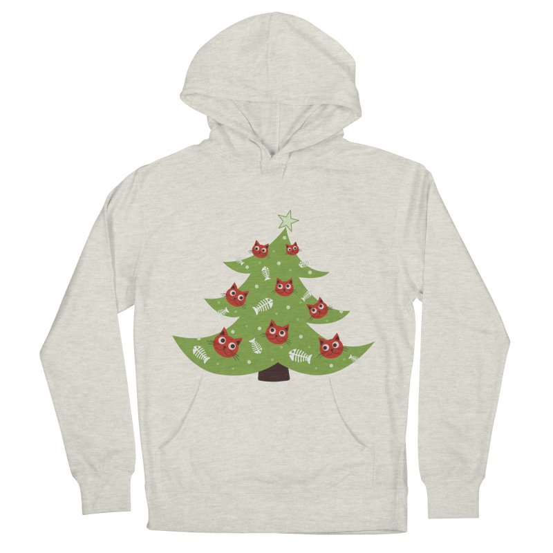 Christmas Tree With Cat Head And Fish Bone Ornaments Women's Pullover Hoody by Boriana's Artist Shop