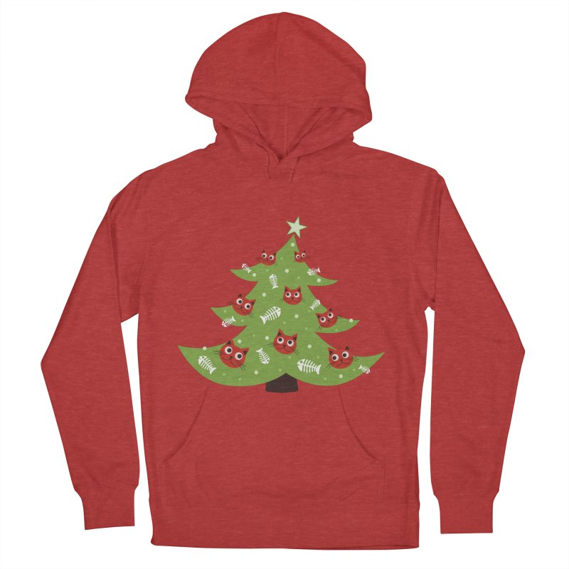 Christmas Tree With Cat Head And Fish Bone Ornaments Men's Pullover Hoody by Boriana's Artist Shop