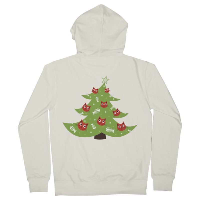 Christmas Tree With Cat Head And Fish Bone Ornaments Women's Zip-Up Hoody by Boriana's Artist Shop