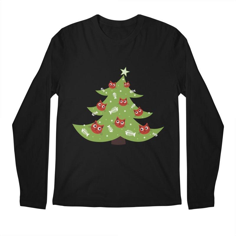 Christmas Tree With Cat Head And Fish Bone Ornaments Men's Longsleeve T-Shirt by Boriana's Artist Shop