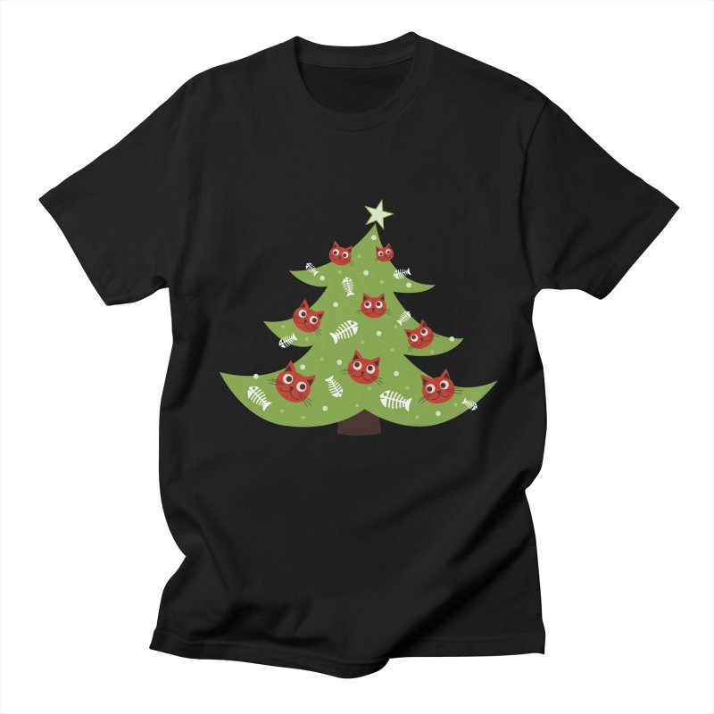 Christmas Tree With Cat Head And Fish Bone Ornaments Men's T-Shirt by Boriana's Artist Shop