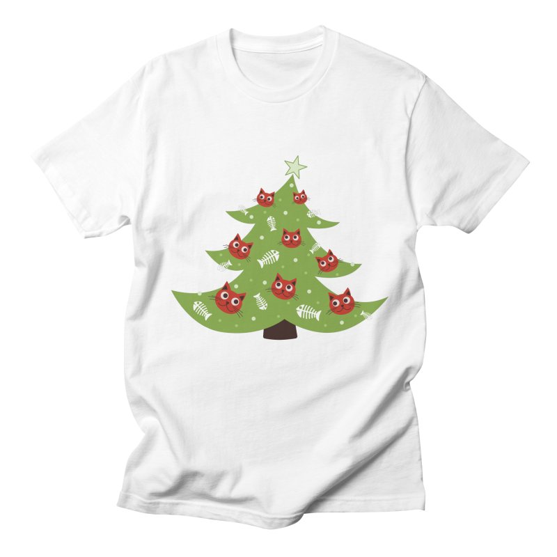 Christmas Tree With Cat Head And Fish Bone Ornaments Women's Regular Unisex T-Shirt by Boriana's Artist Shop