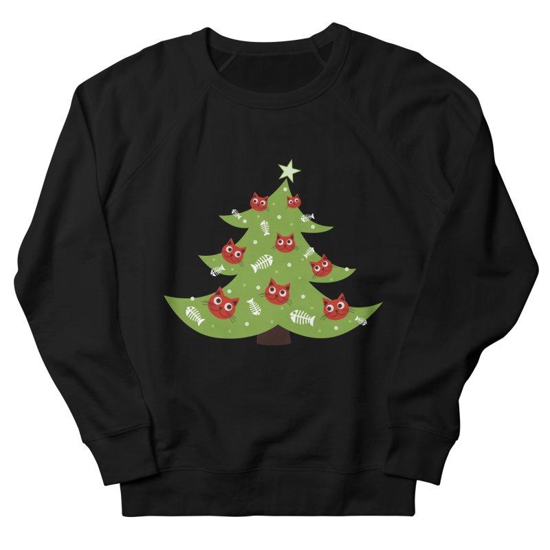 Christmas Tree With Cat Head And Fish Bone Ornaments Women's Sweatshirt by Boriana's Artist Shop