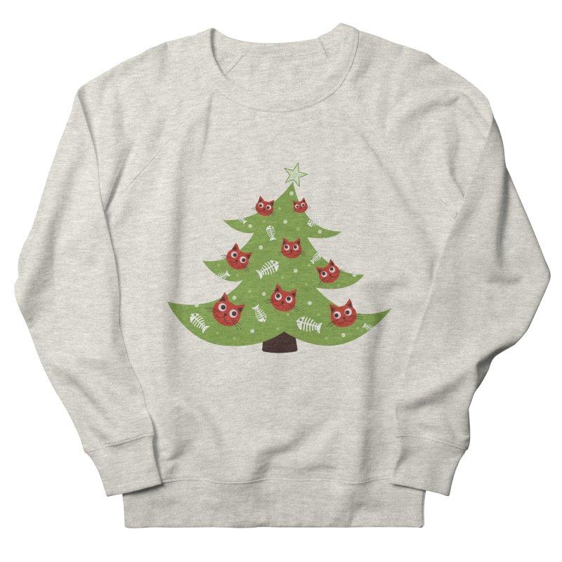 Christmas Tree With Cat Head And Fish Bone Ornaments Men's Sweatshirt by Boriana's Artist Shop