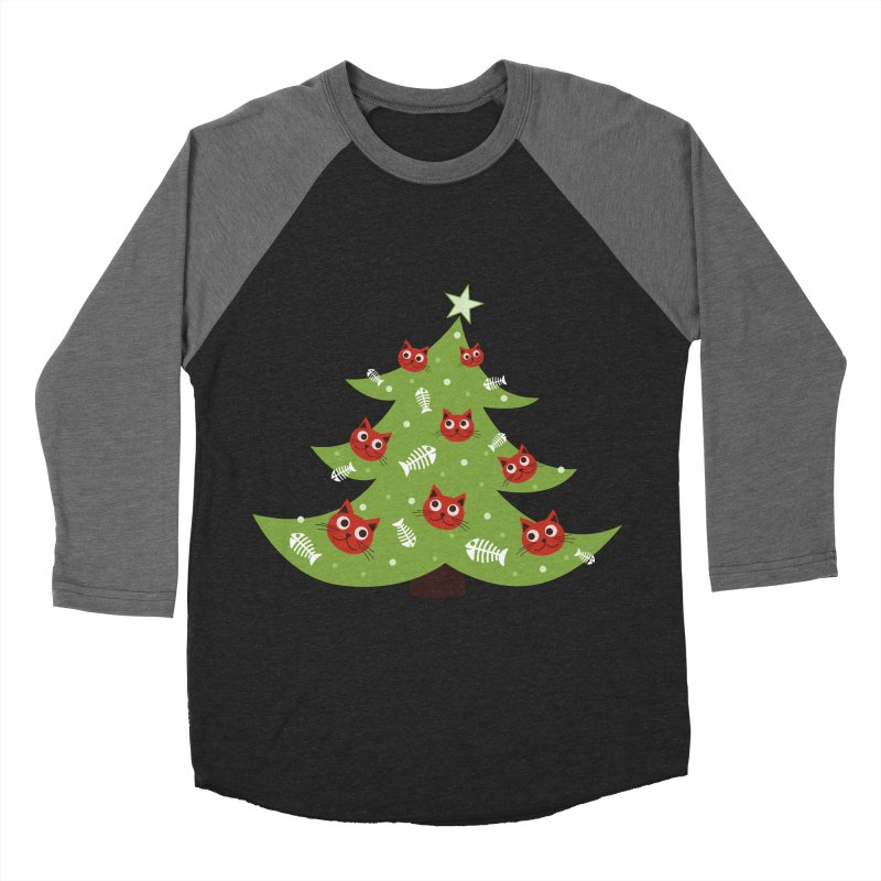 Christmas Tree With Cat Head And Fish Bone Ornaments Women's Baseball Triblend T-Shirt by Boriana's Artist Shop