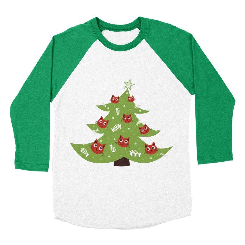 Christmas Tree With Cat Head And Fish Bone Ornaments Men's Baseball Triblend T-Shirt by Boriana's Artist Shop