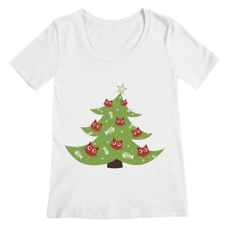 Christmas Tree With Cat Head And Fish Bone Ornaments Women's Regular Scoop Neck by Boriana's Artist Shop