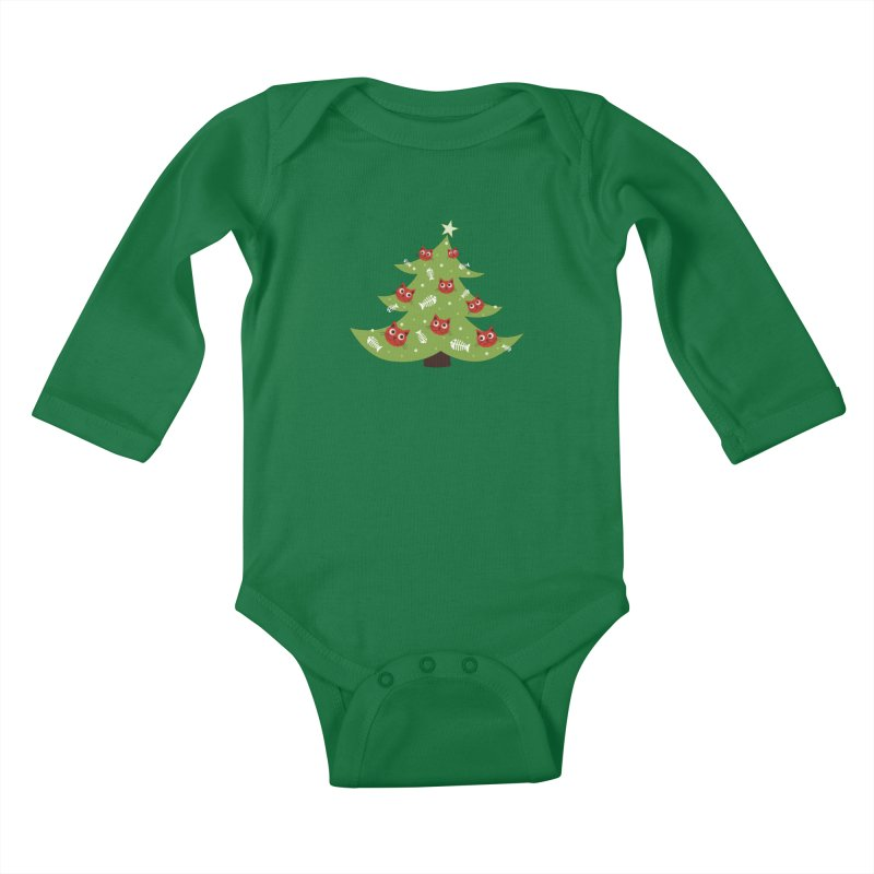 Christmas Tree With Cat Head And Fish Bone Ornaments Kids Baby Longsleeve Bodysuit by Boriana's Artist Shop