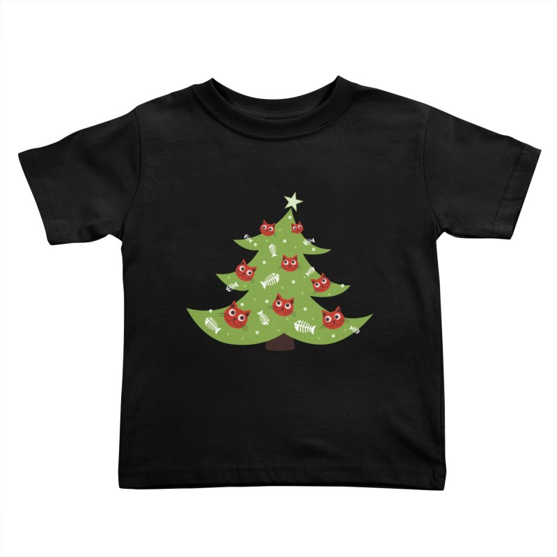 Christmas Tree With Cat Head And Fish Bone Ornaments Kids Toddler T-Shirt by Boriana's Artist Shop