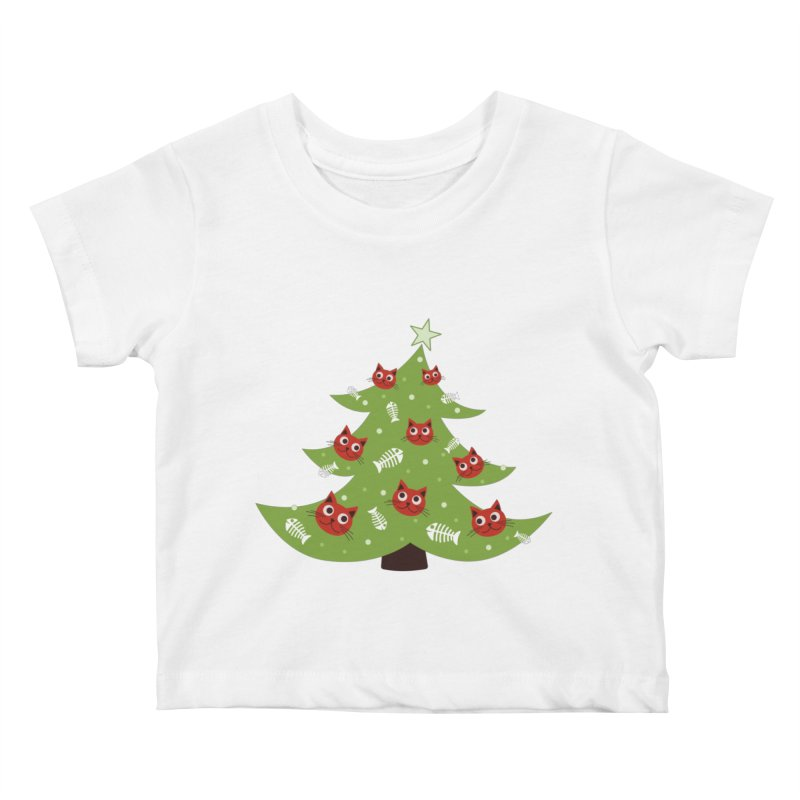 Christmas Tree With Cat Head And Fish Bone Ornaments Kids Baby T-Shirt by Boriana's Artist Shop