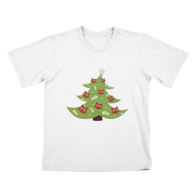 Christmas Tree With Cat Head And Fish Bone Ornaments Kids T-Shirt by Boriana's Artist Shop