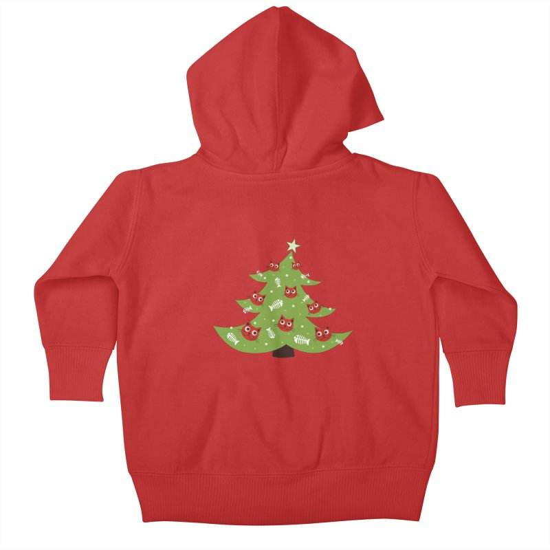 Christmas Tree With Cat Head And Fish Bone Ornaments Kids Baby Zip-Up Hoody by Boriana's Artist Shop