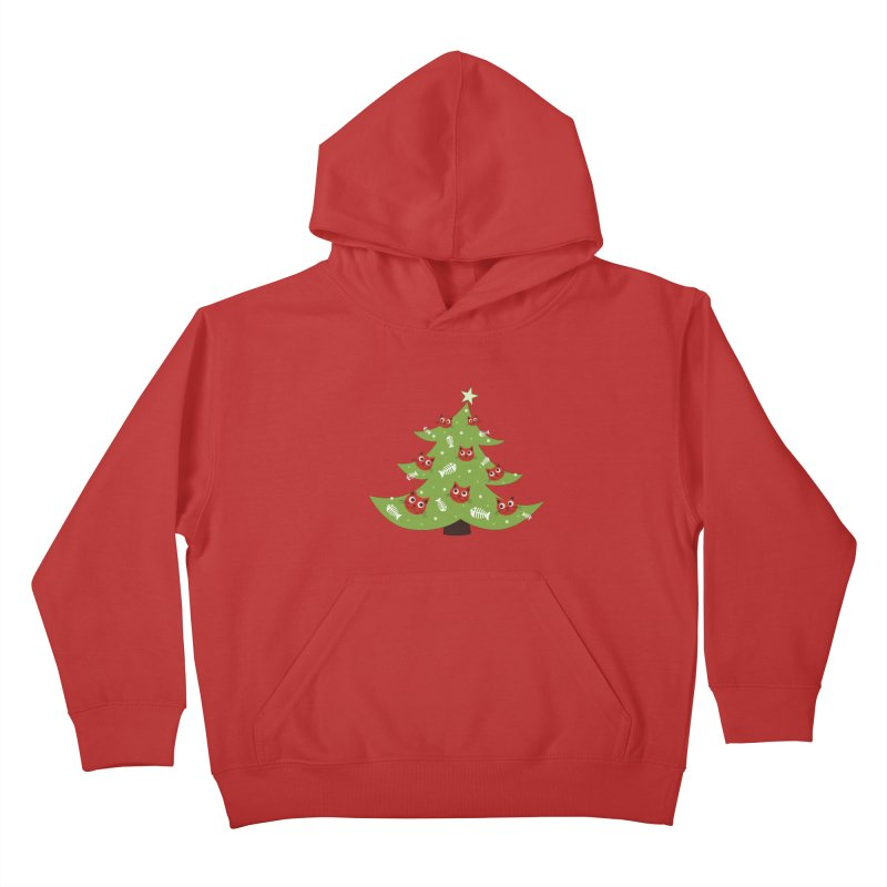 Christmas Tree With Cat Head And Fish Bone Ornaments Kids Pullover Hoody by Boriana's Artist Shop