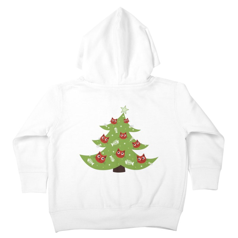 Christmas Tree With Cat Head And Fish Bone Ornaments Kids Toddler Zip-Up Hoody by Boriana's Artist Shop