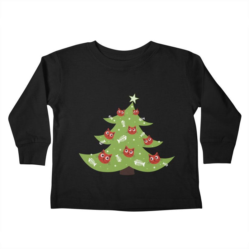 Christmas Tree With Cat Head And Fish Bone Ornaments Kids Toddler Longsleeve T-Shirt by Boriana's Artist Shop