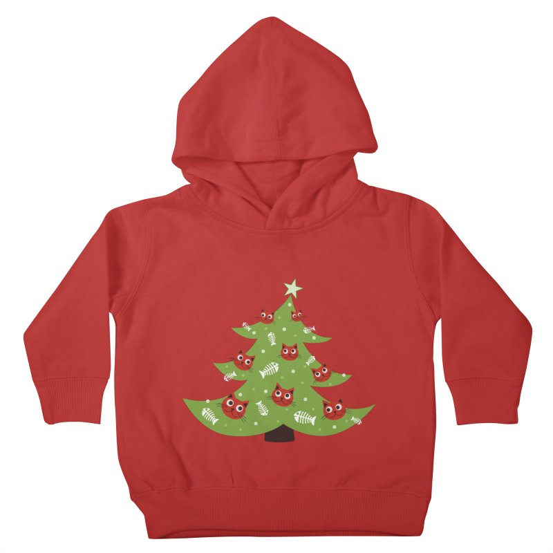 Christmas Tree With Cat Head And Fish Bone Ornaments Kids Toddler Pullover Hoody by Boriana's Artist Shop