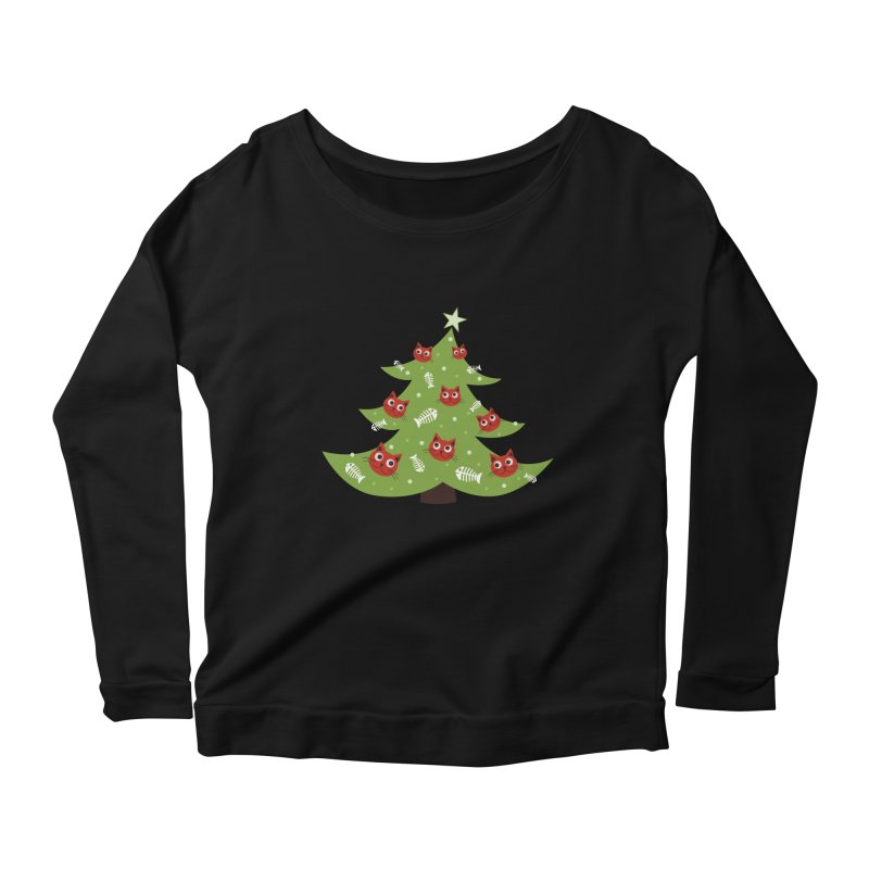 Christmas Tree With Cat Head And Fish Bone Ornaments Women's Longsleeve Scoopneck  by Boriana's Artist Shop