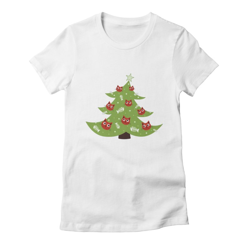 Christmas Tree With Cat Head And Fish Bone Ornaments Women's Fitted T-Shirt by Boriana's Artist Shop