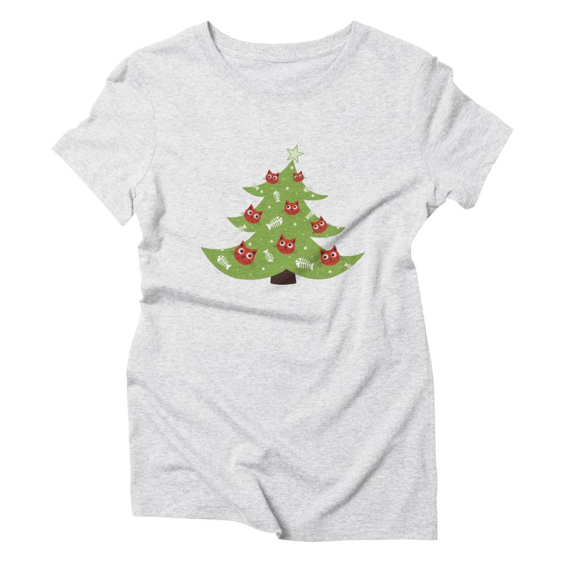 Christmas Tree With Cat Head And Fish Bone Ornaments Women's Triblend T-Shirt by Boriana's Artist Shop