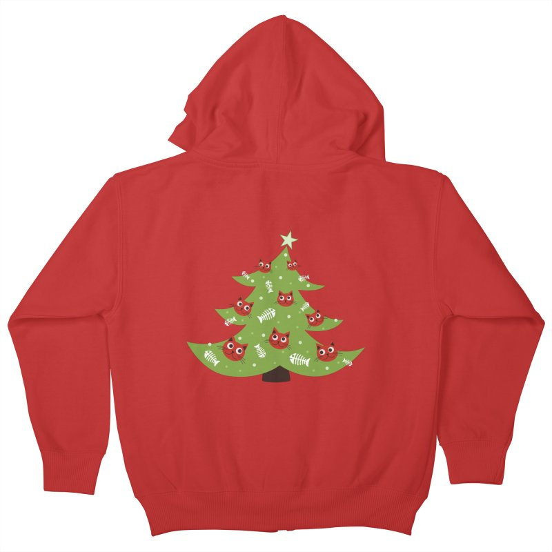 Christmas Tree With Cat Head And Fish Bone Ornaments Kids Zip-Up Hoody by Boriana's Artist Shop