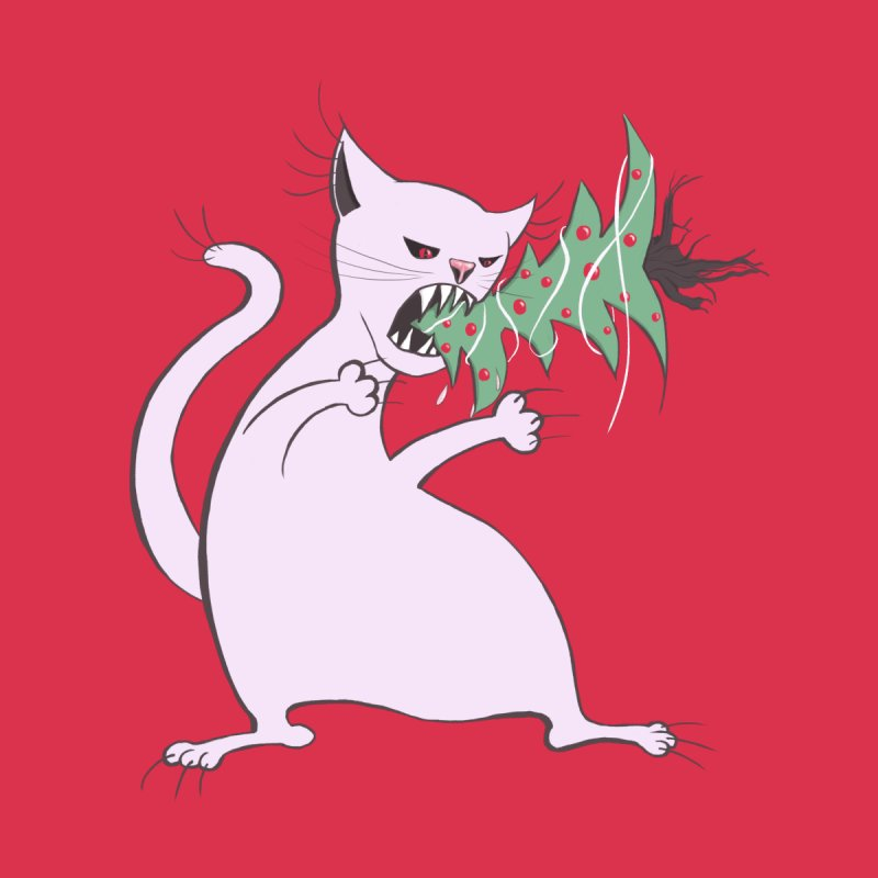 White Fat Cat Eats Christmas Tree by Boriana's Artist Shop