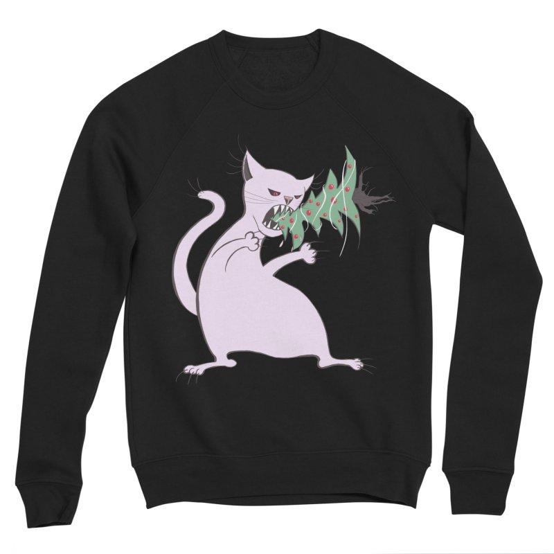 White Fat Cat Eats Christmas Tree Men's Sponge Fleece Sweatshirt by Boriana's Artist Shop