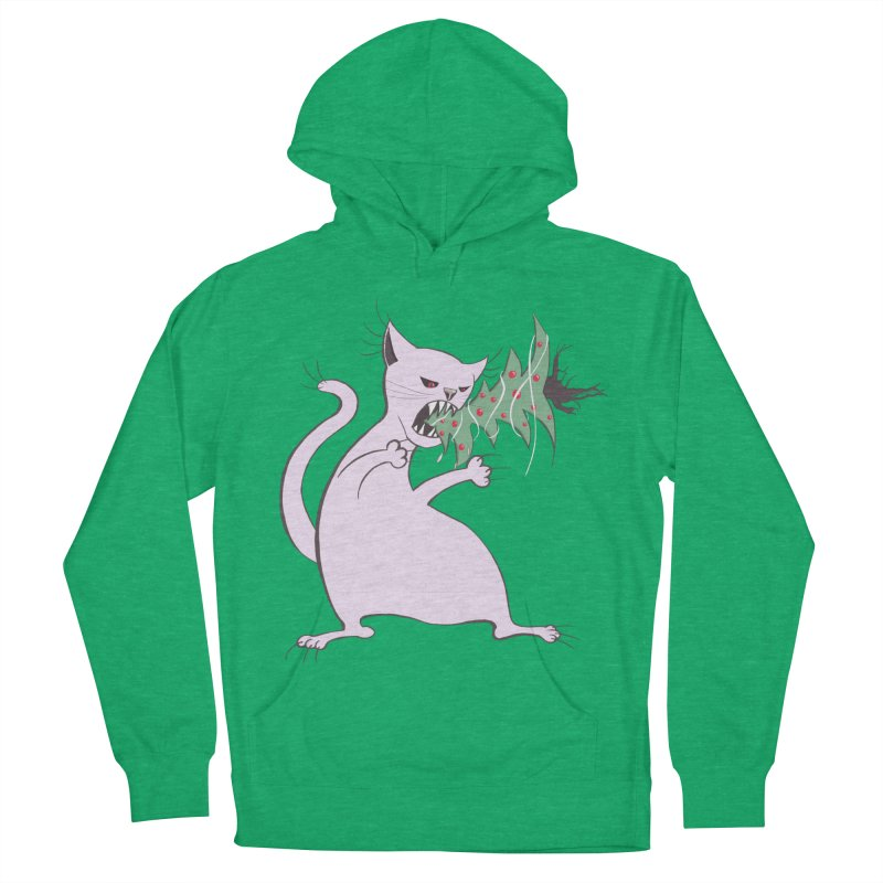 White Fat Cat Eats Christmas Tree Men's Pullover Hoody by Boriana's Artist Shop