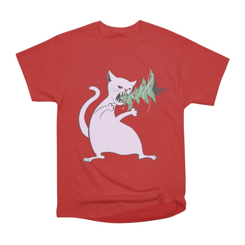 White Fat Cat Eats Christmas Tree Men's Classic T-Shirt by Boriana's Artist Shop