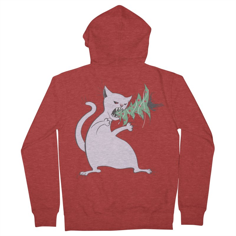 White Fat Cat Eats Christmas Tree Women's Zip-Up Hoody by Boriana's Artist Shop
