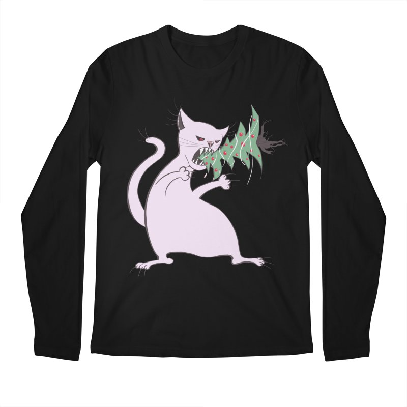 White Fat Cat Eats Christmas Tree Men's Longsleeve T-Shirt by Boriana's Artist Shop