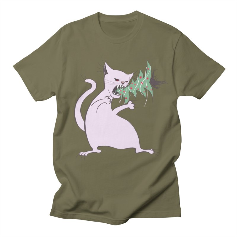 White Fat Cat Eats Christmas Tree Men's T-Shirt by Boriana's Artist Shop